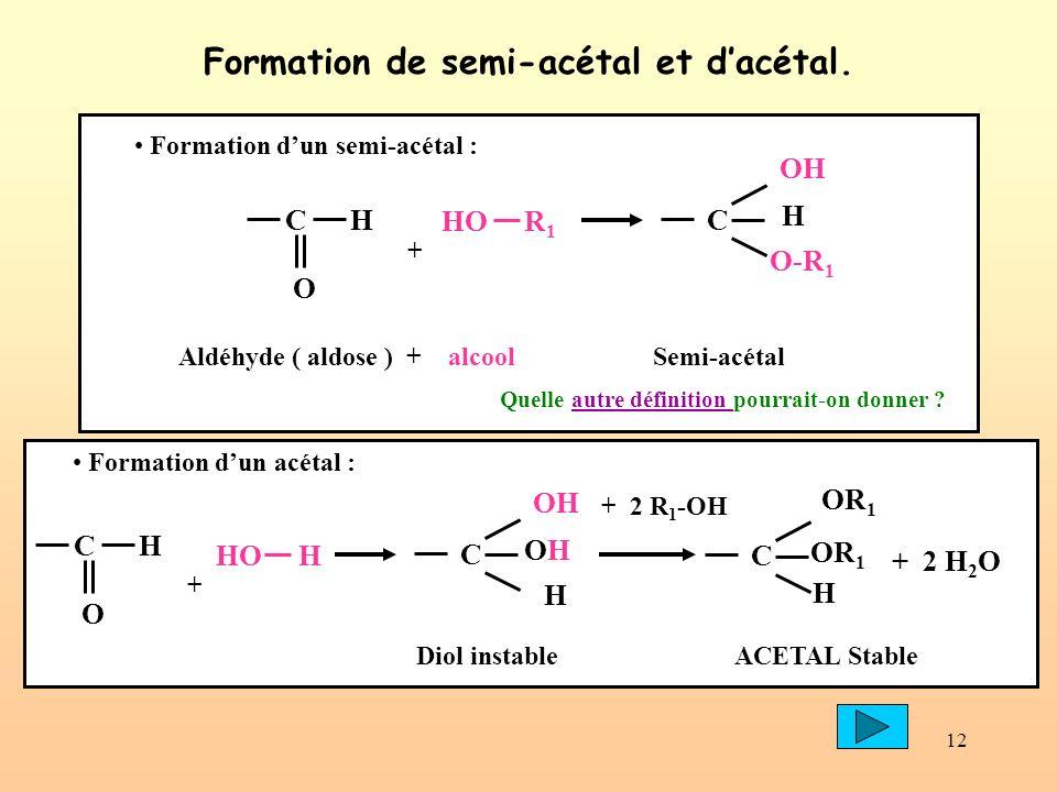 12 Formation de semi-acétal et dacétal. HO R 1 C H O + C H OH O-R 1 Aldéhyde ( aldose ) + alcool Semi-acétal Formation dun semi-acétal : C OR 1 H + 2