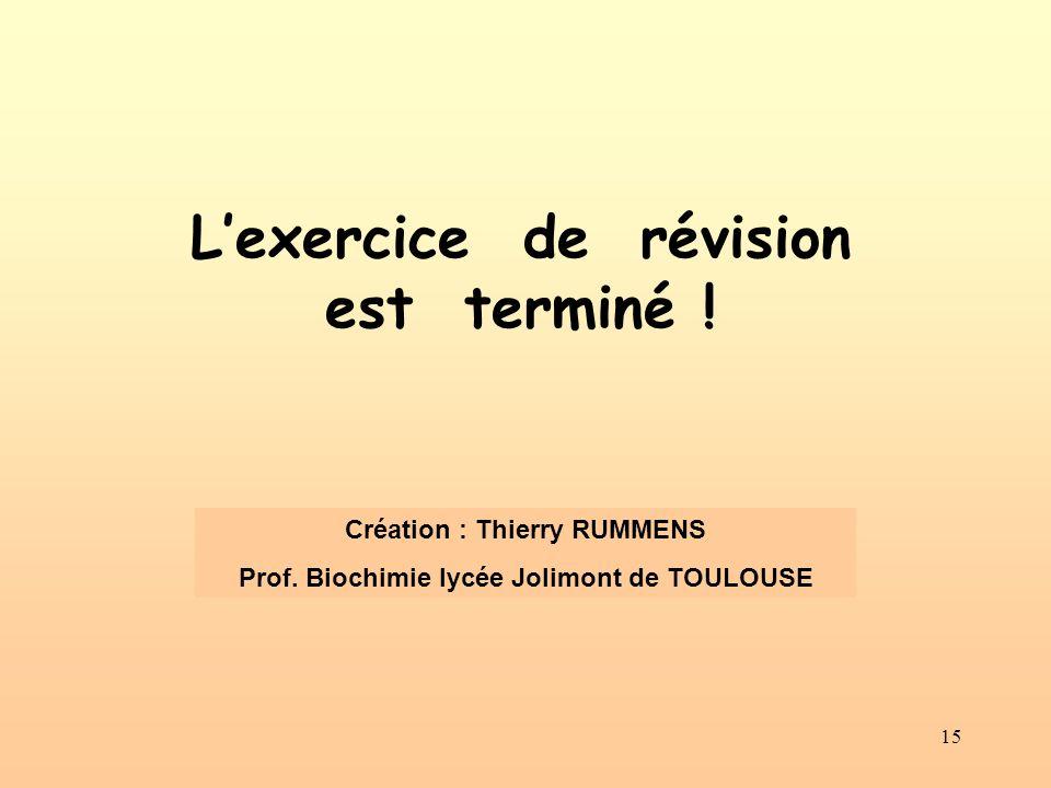 15 Lexercice de révision est terminé ! Création : Thierry RUMMENS Prof. Biochimie lycée Jolimont de TOULOUSE