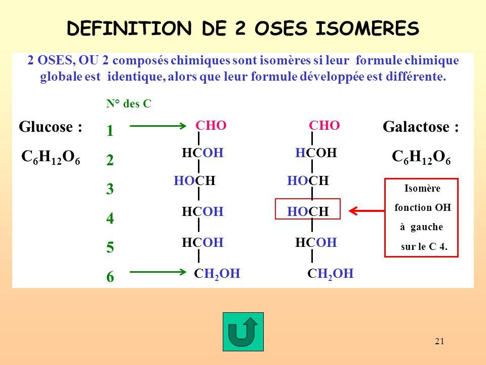 21 2 OSES, OU 2 composés chimiques sont isomères si leur formule chimique globale est identique, alors que leur formule développée est différente. DEF