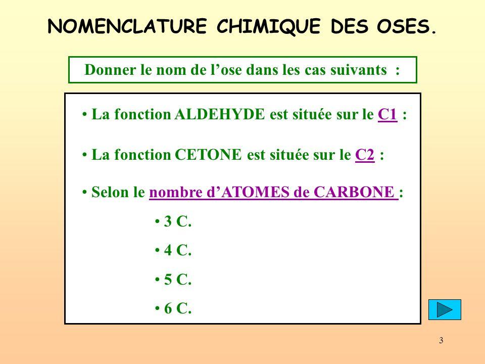 3 NOMENCLATURE CHIMIQUE DES OSES. Selon le nombre dATOMES de CARBONE : 3 C. 4 C. 5 C. 6 C. La fonction ALDEHYDE est située sur le C1 :C1 La fonction C