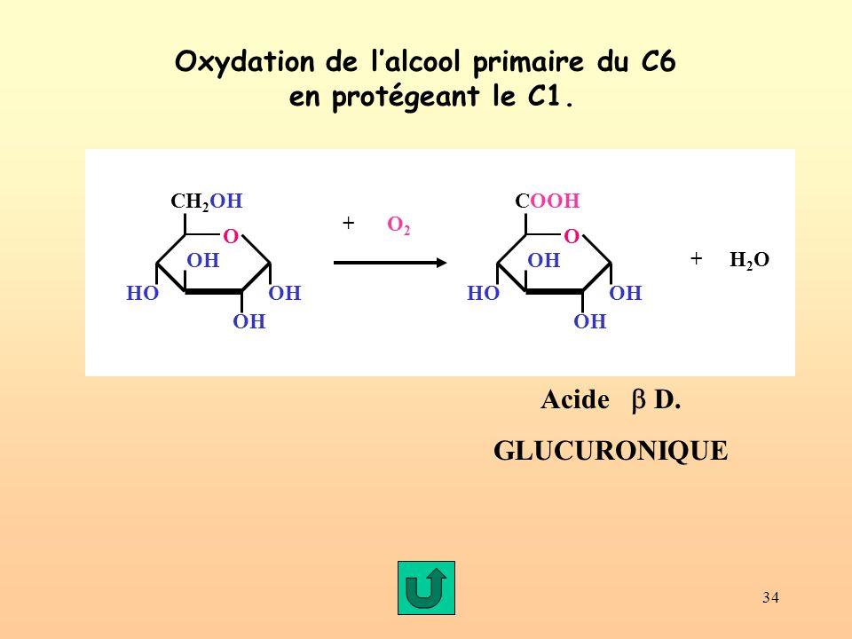 34 Oxydation de lalcool primaire du C6 en protégeant le C1. Acide D. GLUCURONIQUE OH CH 2 OH O OH HOOH + O 2 OH COOH O OH HOOH + H 2 O