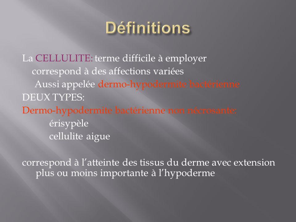 La CELLULITE: terme difficile à employer correspond à des affections variées Aussi appelée dermo-hypodermite bactérienne DEUX TYPES: Dermo-hypodermite
