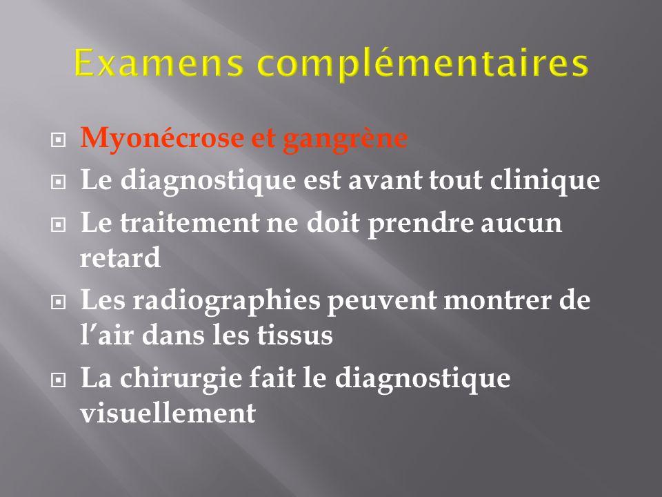 Myonécrose et gangrène Le diagnostique est avant tout clinique Le traitement ne doit prendre aucun retard Les radiographies peuvent montrer de lair da