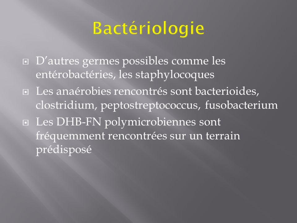 Dautres germes possibles comme les entérobactéries, les staphylocoques Les anaérobies rencontrés sont bacterioides, clostridium, peptostreptococcus, f