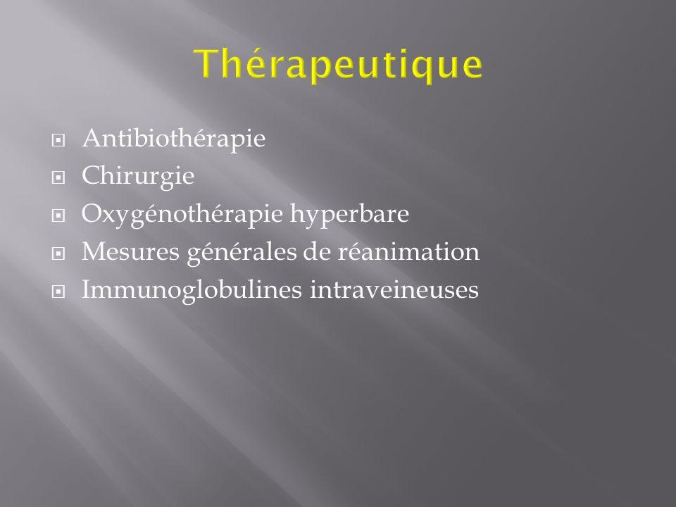 Antibiothérapie Chirurgie Oxygénothérapie hyperbare Mesures générales de réanimation Immunoglobulines intraveineuses