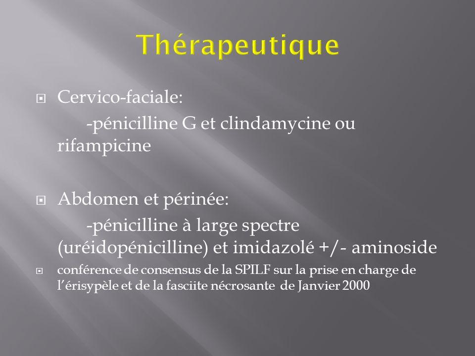 Cervico-faciale: -pénicilline G et clindamycine ou rifampicine Abdomen et périnée: -pénicilline à large spectre (uréidopénicilline) et imidazolé +/- a