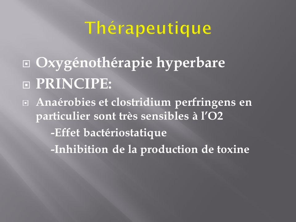 Oxygénothérapie hyperbare PRINCIPE: Anaérobies et clostridium perfringens en particulier sont très sensibles à lO2 -Effet bactériostatique -Inhibition