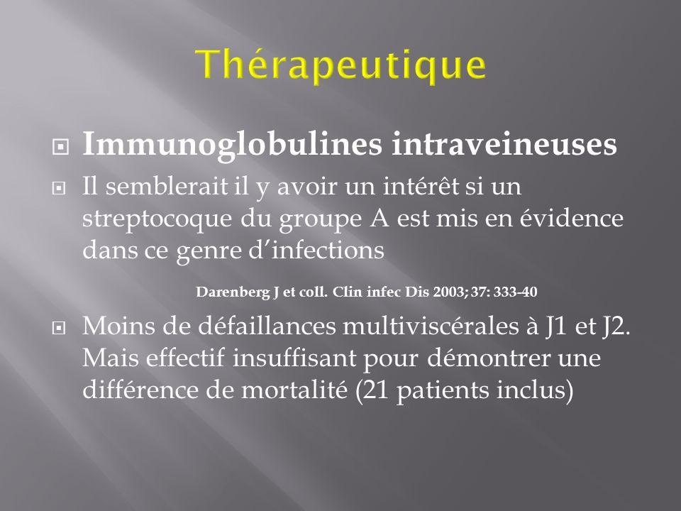 Immunoglobulines intraveineuses Il semblerait il y avoir un intérêt si un streptocoque du groupe A est mis en évidence dans ce genre dinfections Daren