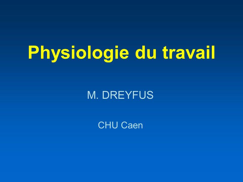 Physiologie du travail M. DREYFUS CHU Caen