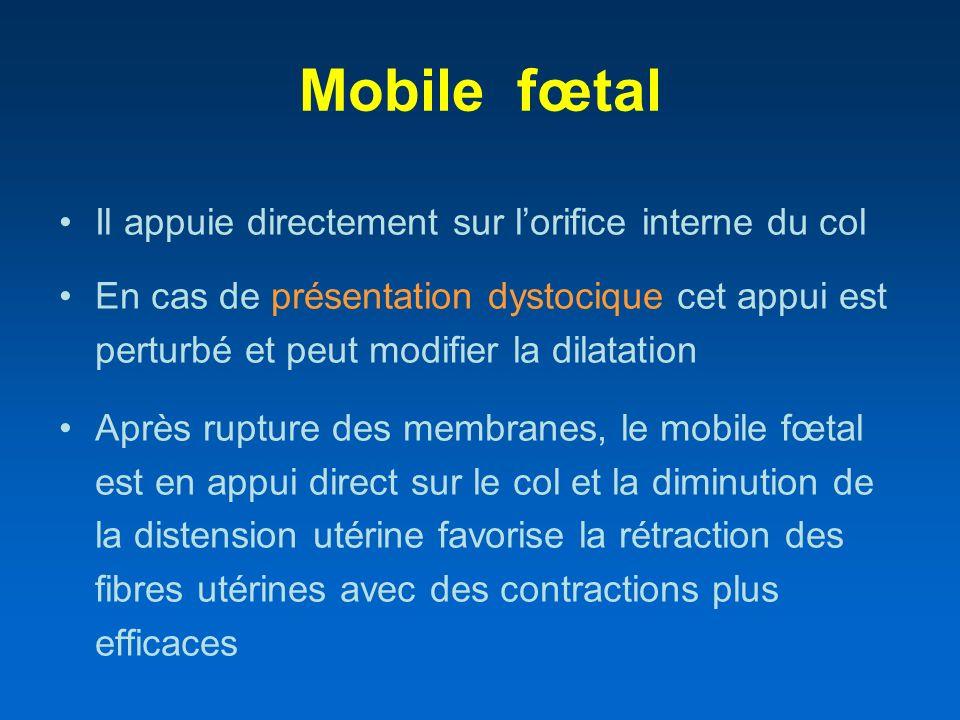 Mobile fœtal Il appuie directement sur lorifice interne du col En cas de présentation dystocique cet appui est perturbé et peut modifier la dilatation