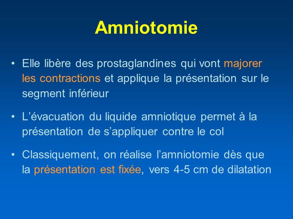 Amniotomie Elle libère des prostaglandines qui vont majorer les contractions et applique la présentation sur le segment inférieur Lévacuation du liqui