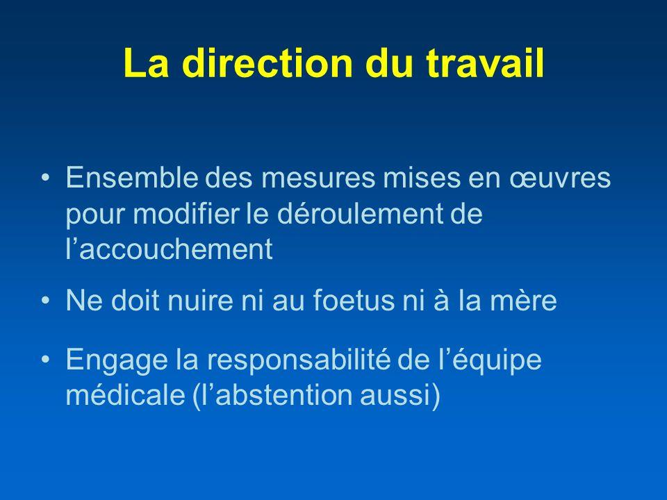 La direction du travail Ensemble des mesures mises en œuvres pour modifier le déroulement de laccouchement Ne doit nuire ni au foetus ni à la mère Eng