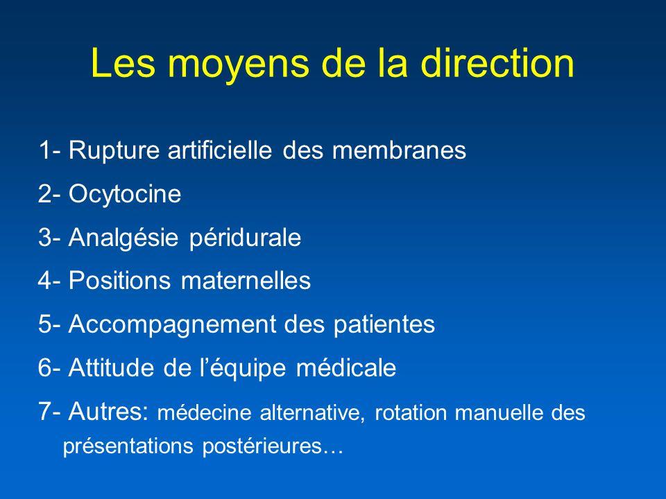Les moyens de la direction 1- Rupture artificielle des membranes 2- Ocytocine 3- Analgésie péridurale 4- Positions maternelles 5- Accompagnement des p