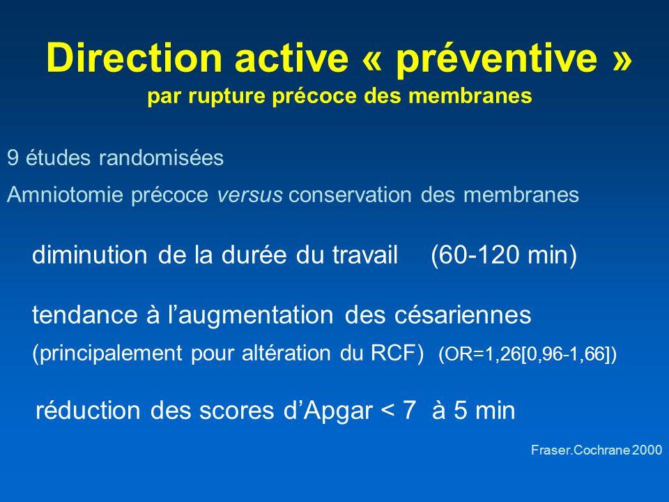 Direction active « préventive » par rupture précoce des membranes 9 études randomisées Amniotomie précoce versus conservation des membranes diminution