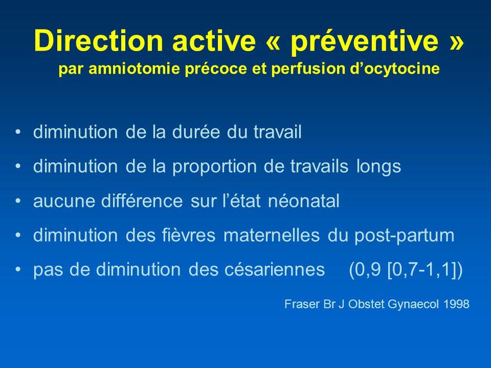 Direction active « préventive » par amniotomie précoce et perfusion docytocine diminution de la durée du travail diminution de la proportion de travai