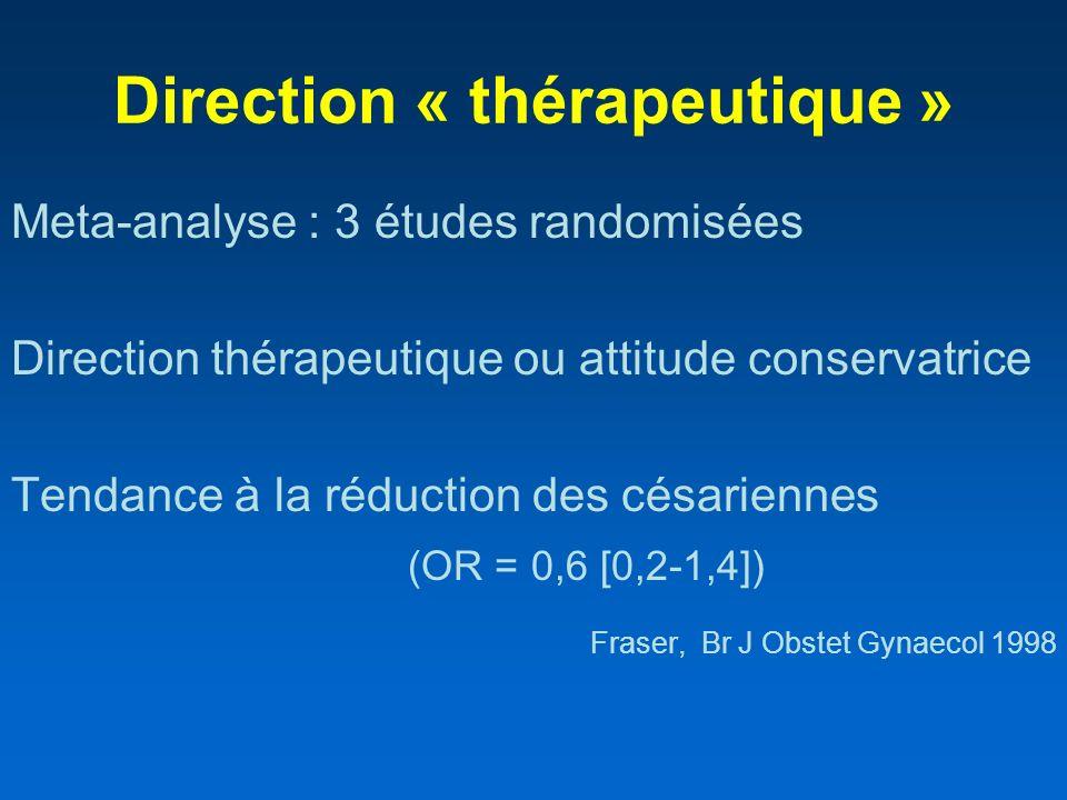 Direction « thérapeutique » Meta-analyse : 3 études randomisées Direction thérapeutique ou attitude conservatrice Tendance à la réduction des césarien