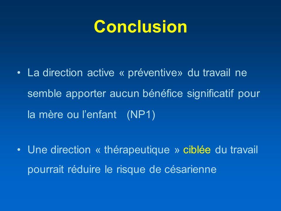Conclusion La direction active « préventive» du travail ne semble apporter aucun bénéfice significatif pour la mère ou lenfant (NP1) Une direction « t