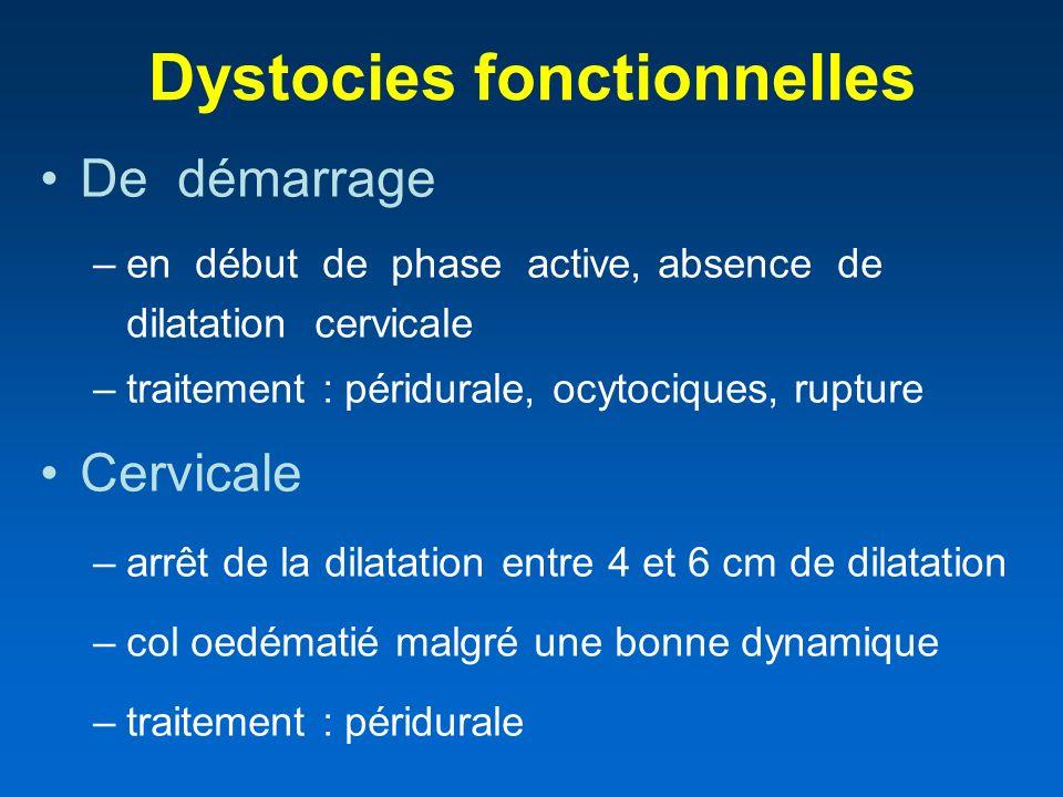 Dystocies fonctionnelles De démarrage –en début de phase active, absence de dilatation cervicale –traitement : péridurale, ocytociques, rupture Cervic