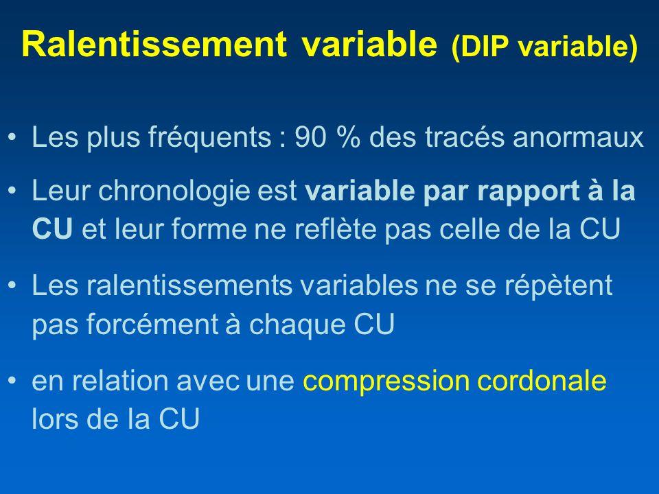 Ralentissement variable (DIP variable) Les plus fréquents : 90 % des tracés anormaux Leur chronologie est variable par rapport à la CU et leur forme n