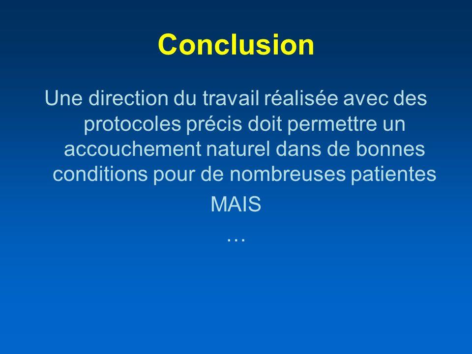 Conclusion Une direction du travail réalisée avec des protocoles précis doit permettre un accouchement naturel dans de bonnes conditions pour de nombr