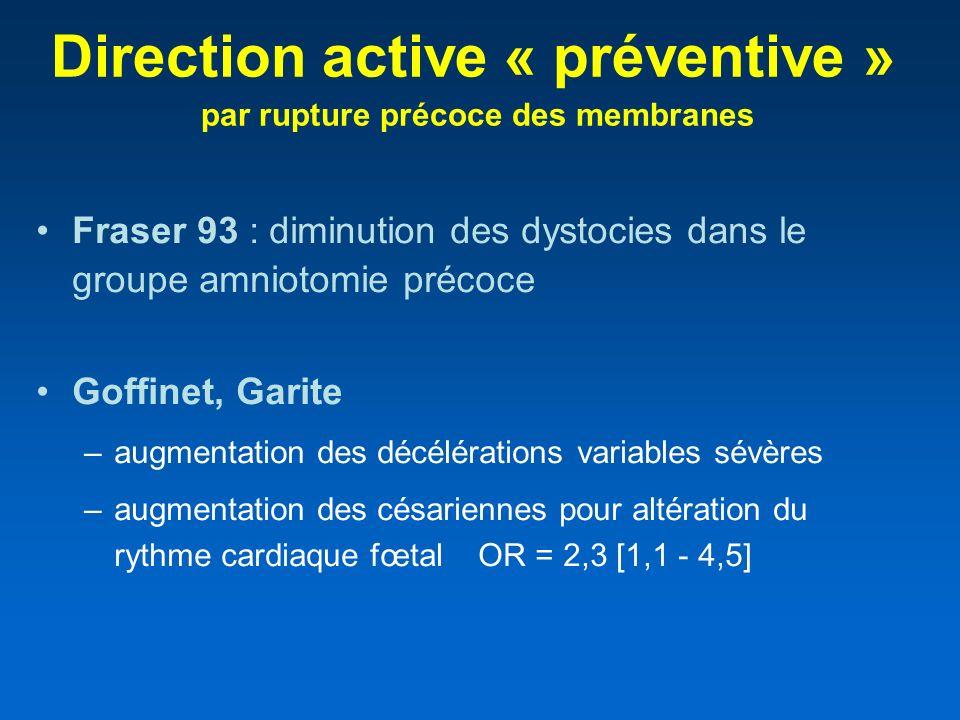 Direction active « préventive » par rupture précoce des membranes Fraser 93 : diminution des dystocies dans le groupe amniotomie précoce Goffinet, Gar