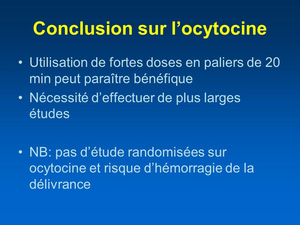 Conclusion sur locytocine Utilisation de fortes doses en paliers de 20 min peut paraître bénéfique Nécessité deffectuer de plus larges études NB: pas
