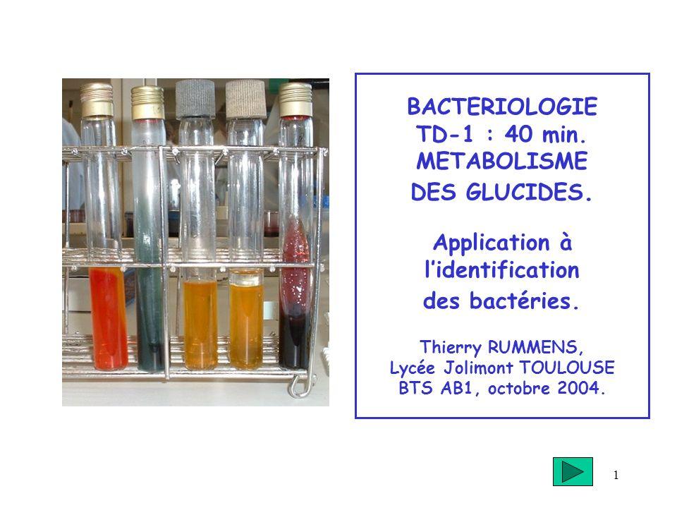 1 BACTERIOLOGIE TD-1 : 40 min. METABOLISME DES GLUCIDES. Application à lidentification des bactéries. Thierry RUMMENS, Lycée Jolimont TOULOUSE BTS AB1