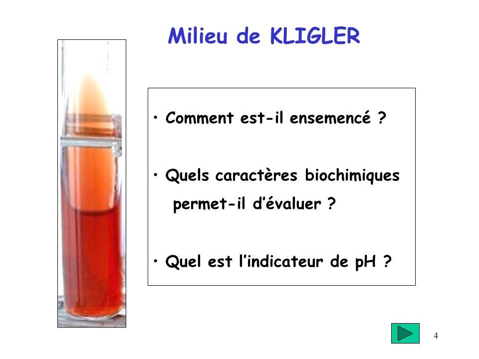 4 Milieu de KLIGLER Comment est-il ensemencé ? Quels caractères biochimiques permet-il dévaluer ? Quel est lindicateur de pH ?