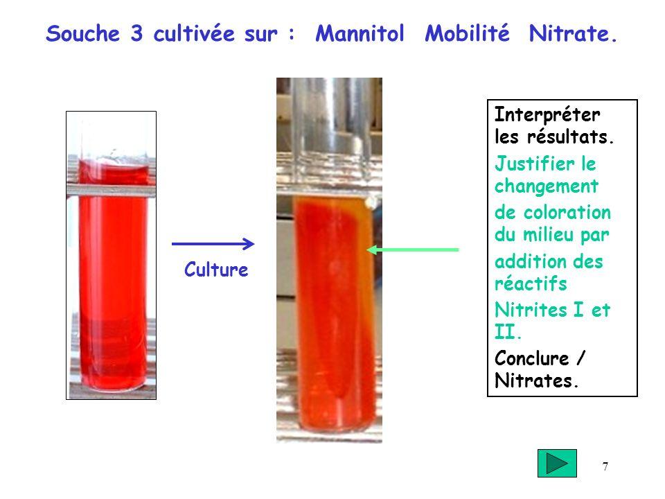 7 Souche 3 cultivée sur : Mannitol Mobilité Nitrate. Interpréter les résultats. Justifier le changement de coloration du milieu par addition des réact