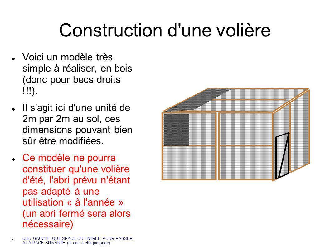 Construction d'une volière Voici un modèle très simple à réaliser, en bois (donc pour becs droits !!!). Il s'agit ici d'une unité de 2m par 2m au sol,