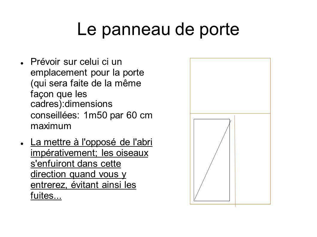 Le panneau de porte Prévoir sur celui ci un emplacement pour la porte (qui sera faite de la même façon que les cadres):dimensions conseillées: 1m50 pa