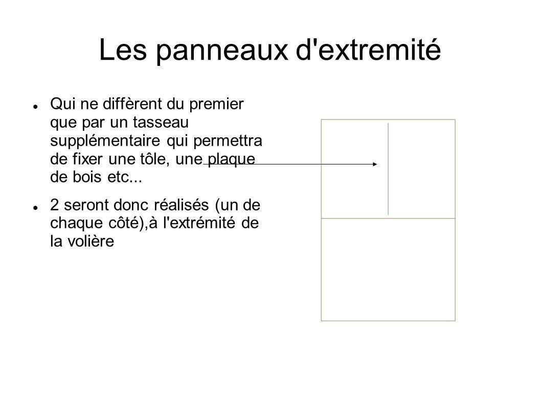Les panneaux d'extremité Qui ne diffèrent du premier que par un tasseau supplémentaire qui permettra de fixer une tôle, une plaque de bois etc... 2 se