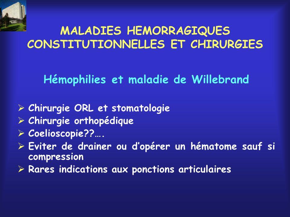 MALADIES HEMORRAGIQUES CONSTITUTIONNELLES ET CHIRURGIES Hémophilies et maladie de Willebrand Chirurgie ORL et stomatologie Chirurgie orthopédique Coel