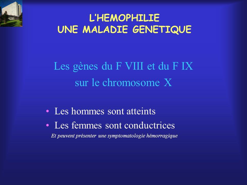 LHEMOPHILIE UNE MALADIE GENETIQUE Les gènes du F VIII et du F IX sur le chromosome X Les hommes sont atteints Les femmes sont conductrices Et peuvent