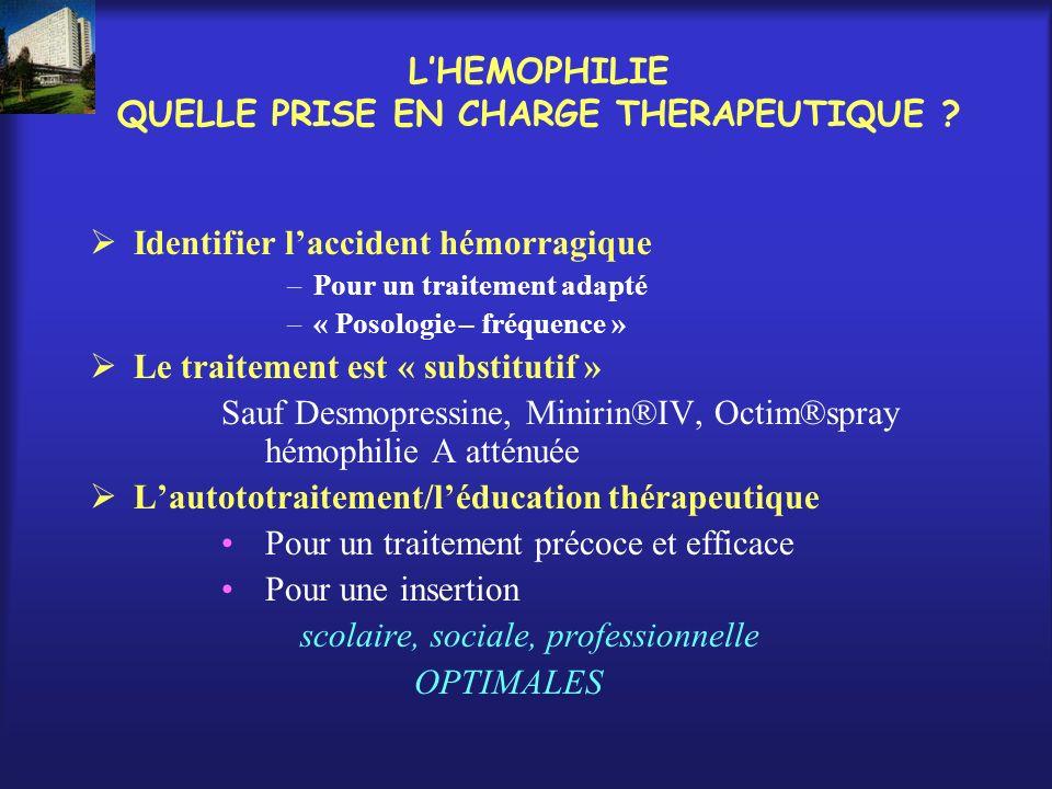 LHEMOPHILIE QUELLE PRISE EN CHARGE THERAPEUTIQUE ? Identifier laccident hémorragique –Pour un traitement adapté –« Posologie – fréquence » Le traiteme