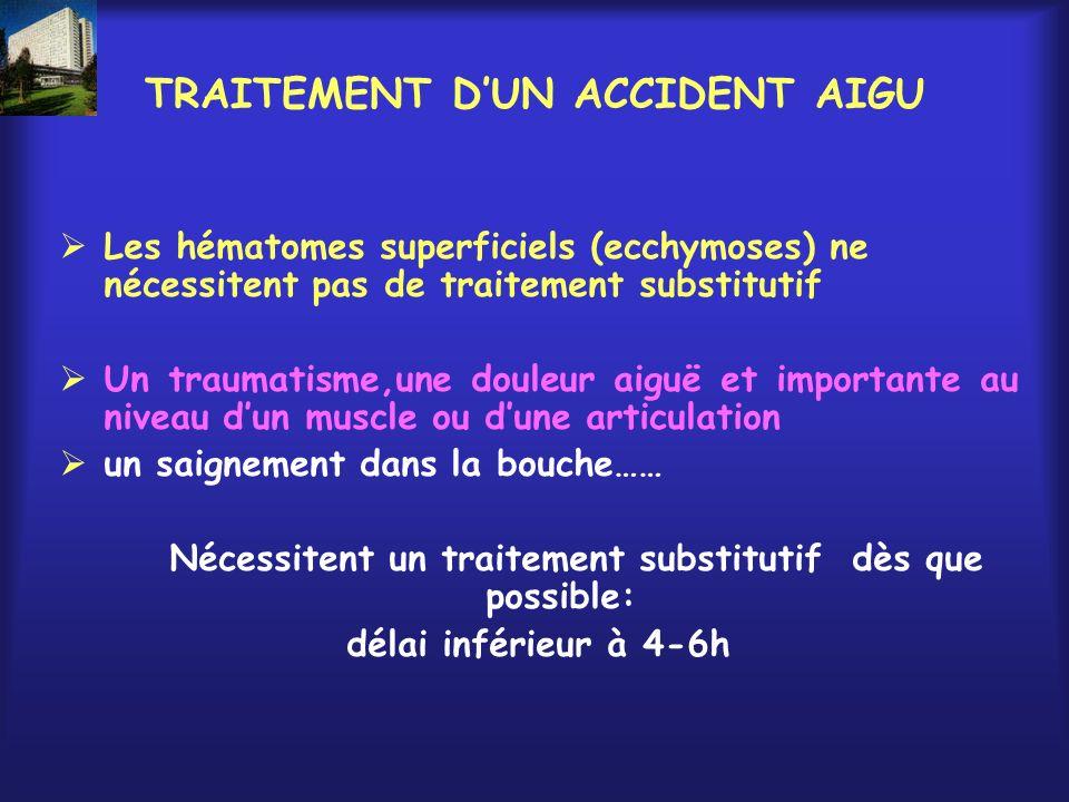 TRAITEMENT DUN ACCIDENT AIGU Les hématomes superficiels (ecchymoses) ne nécessitent pas de traitement substitutif Un traumatisme,une douleur aiguë et