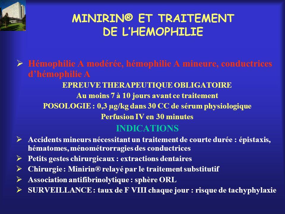 MINIRIN® ET TRAITEMENT DE LHEMOPHILIE Hémophilie A modérée, hémophilie A mineure, conductrices dhémophilie A EPREUVE THERAPEUTIQUE OBLIGATOIRE Au moin