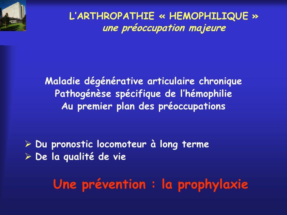 LARTHROPATHIE « HEMOPHILIQUE » une préoccupation majeure Maladie dégénérative articulaire chronique Pathogénèse spécifique de lhémophilie Au premier p