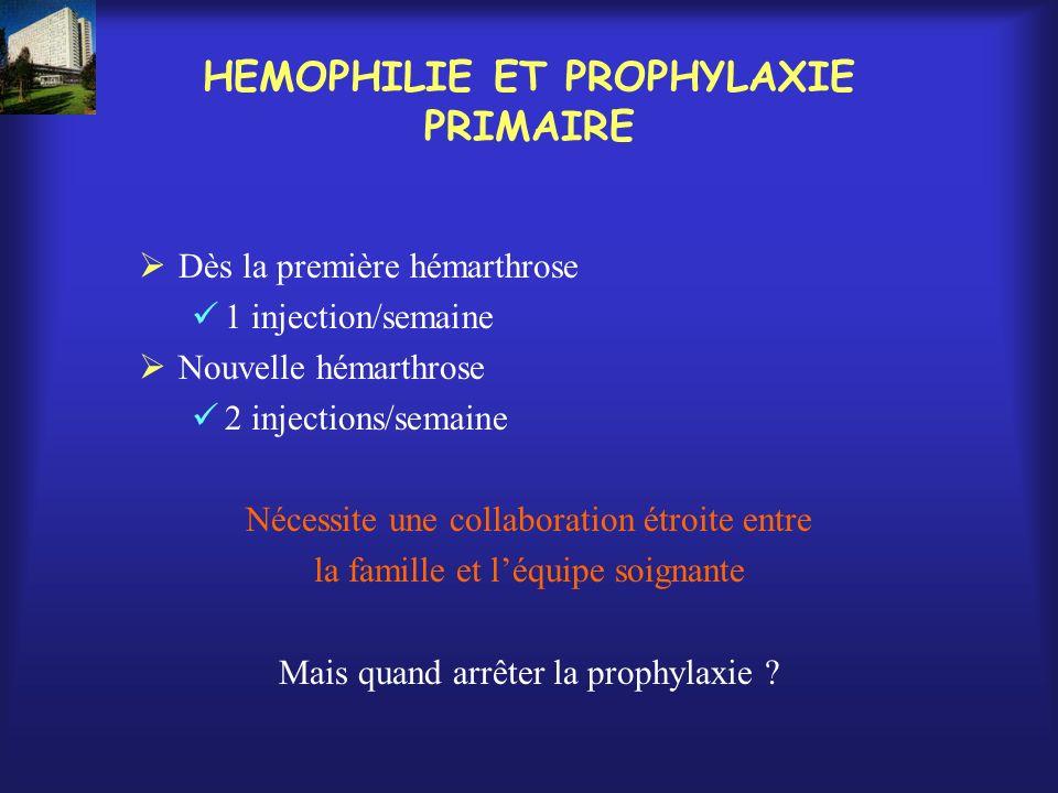 HEMOPHILIE ET PROPHYLAXIE PRIMAIRE Dès la première hémarthrose 1 injection/semaine Nouvelle hémarthrose 2 injections/semaine Nécessite une collaborati
