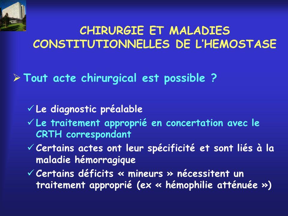 CHIRURGIE ET MALADIES CONSTITUTIONNELLES DE LHEMOSTASE Tout acte chirurgical est possible ? Le diagnostic préalable Le traitement approprié en concert