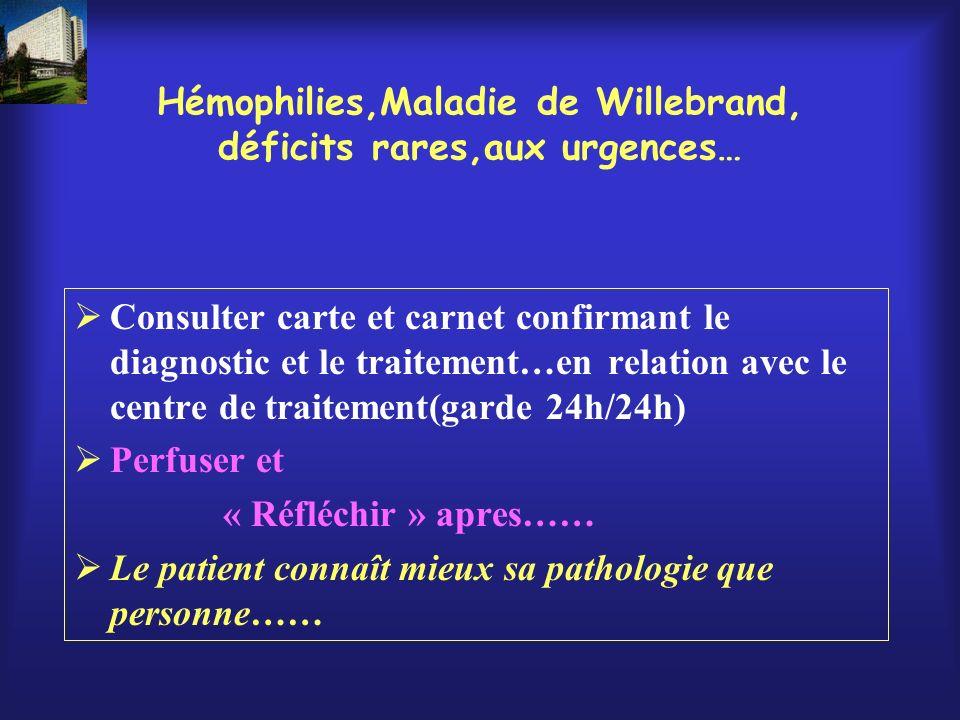 Hémophilies,Maladie de Willebrand, déficits rares,aux urgences… Consulter carte et carnet confirmant le diagnostic et le traitement…en relation avec l