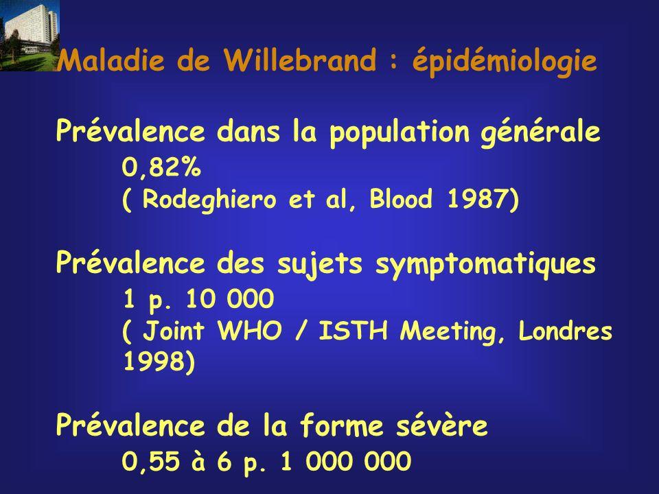 Maladie de Willebrand : épidémiologie Prévalence dans la population générale 0,82% ( Rodeghiero et al, Blood 1987) Prévalence des sujets symptomatique