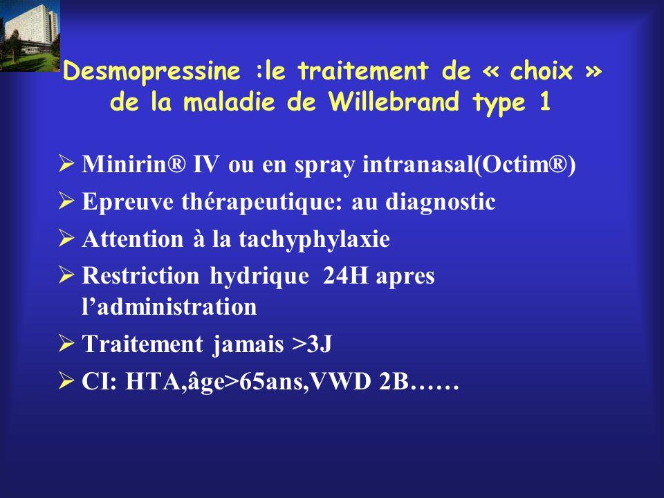 Desmopressine :le traitement de « choix » de la maladie de Willebrand type 1 Minirin® IV ou en spray intranasal(Octim®) Epreuve thérapeutique: au diag