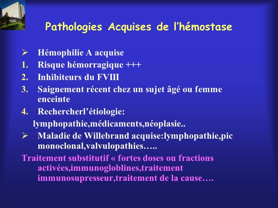 Pathologies Acquises de lhémostase Hémophilie A acquise 1.Risque hémorragique +++ 2.Inhibiteurs du FVIII 3.Saignement récent chez un sujet âgé ou femm