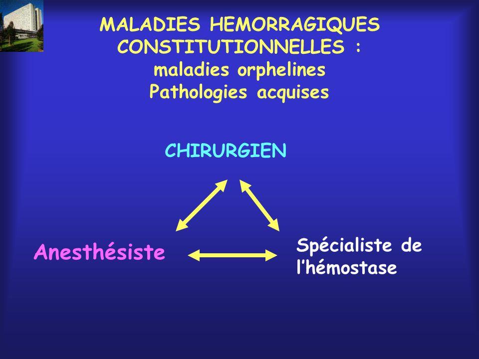 MALADIES HEMORRAGIQUES CONSTITUTIONNELLES : maladies orphelines Pathologies acquises CHIRURGIEN Anesthésiste Spécialiste de lhémostase