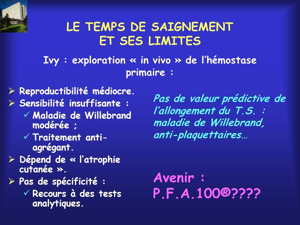 COAGULATION PLASMATIQUE : LE BILAN HABITUEL… T.C.A.
