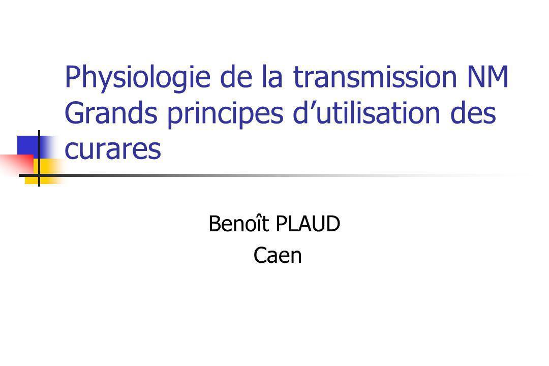 Physiologie de la transmission NM Grands principes dutilisation des curares Benoît PLAUD Caen