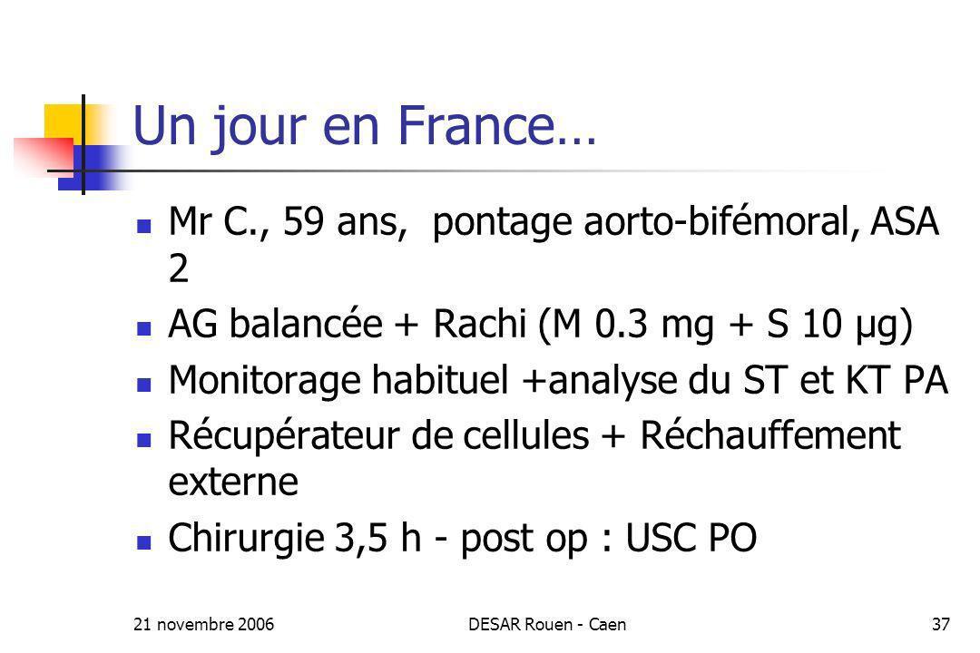 21 novembre 2006DESAR Rouen - Caen37 Un jour en France… Mr C., 59 ans, pontage aorto-bifémoral, ASA 2 AG balancée + Rachi (M 0.3 mg + S 10 µg) Monitor