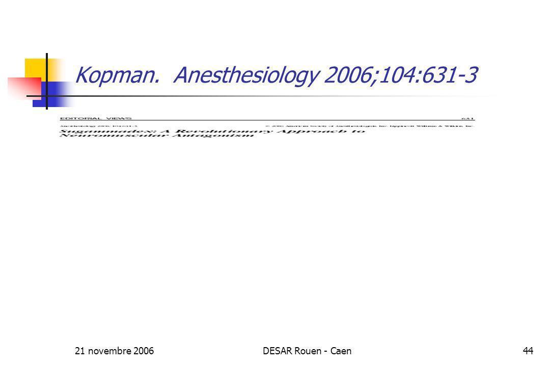 21 novembre 2006DESAR Rouen - Caen44 Kopman. Anesthesiology 2006;104:631-3