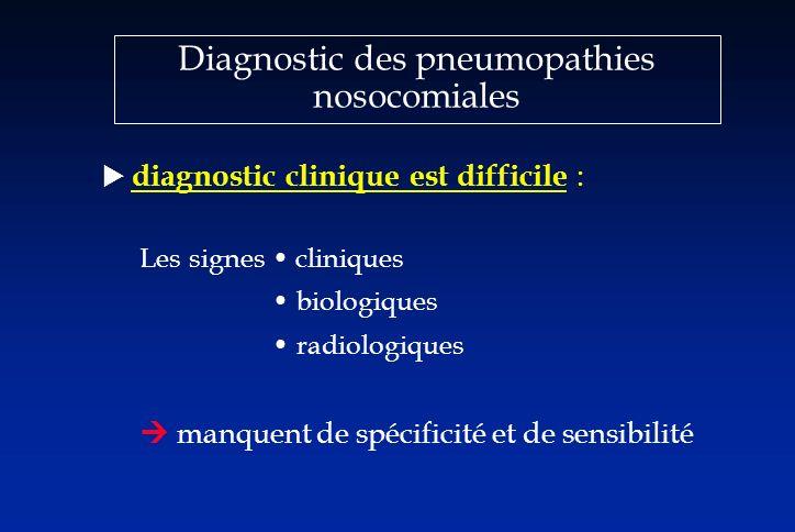Diagnostic des pneumopathies nosocomiales diagnostic clinique est difficile : Les signes cliniques biologiques radiologiques manquent de spécificité e